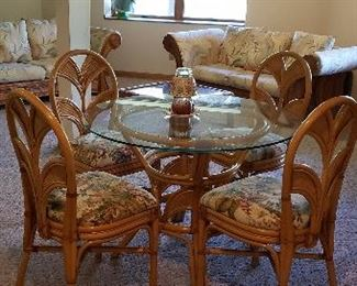 Bamboo glass top table w/4 chairs