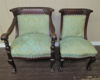 Mahogany Parlor Chairs w/Claw Feet