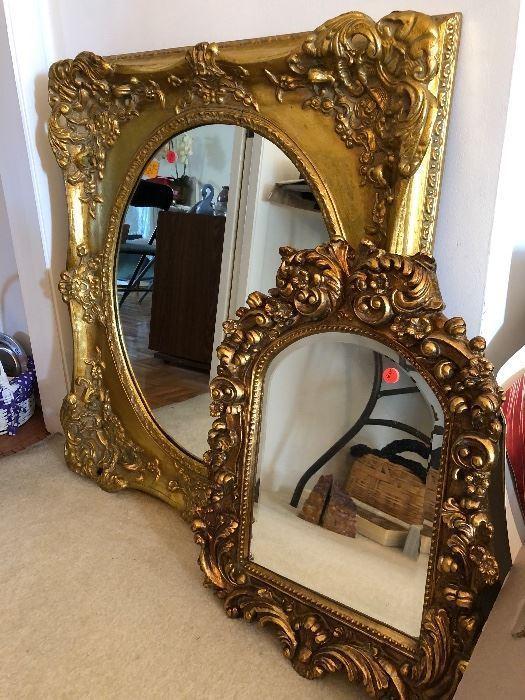 Beautiful gilded mirrors