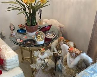 Glass and brass end table (set if 2); lovely Christmas angels