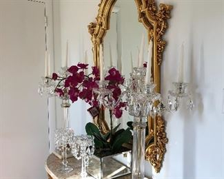 Gilded hall table with marble top and matching mirror; crystal candelabras