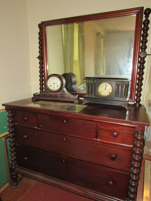 Beautiful Empire Dresser and Mirror, Sessions Clock