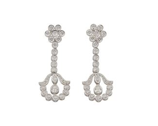 """1011 A Pair Of Diamond Earrings 18k white gold Set with two pear, two marquise, and fifty-four full-cut round diamonds, totaling approximately 3.90cts and graded F-G color and VS-SI clarity 2"""" L 10.55 grams 2 pieces Estimate: $4,000 - $6,000"""