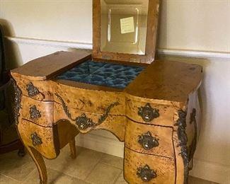 Antique tufted vanity