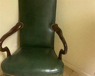Hancock & Moore green leather studded chairs; 6 available