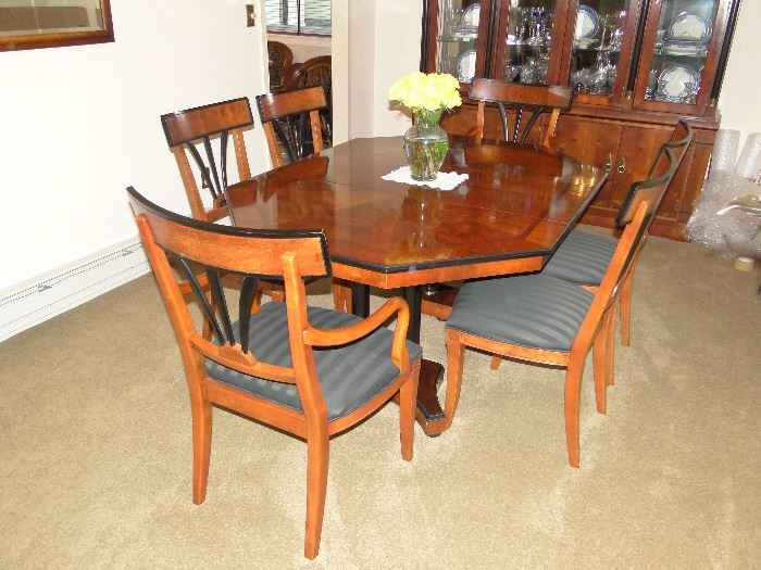 """Century Furniture Oriental Style Dining Room Table/Slant Back Chairs with 2 leaves and pads 64x46 and 2 18"""" leaves. Absolutely beautiful. $850. Table is Hexagon shaped."""