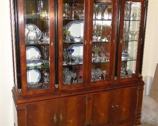 """Century Furniture China Cabinet that matches the dining room table $250. 78x73x19"""". Nothing inside the china cabinet is for sale!"""