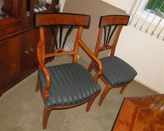 A view of the Chairs that go with the dining room table
