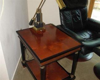 "Century Furniture Side Table $150 25x20x23"". Brass Gooseneck Lamp $45"