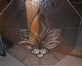 Octagon Fleur de Lis design glass, SOLD