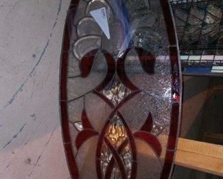 Burgundy oval stained glass piece, SOLD