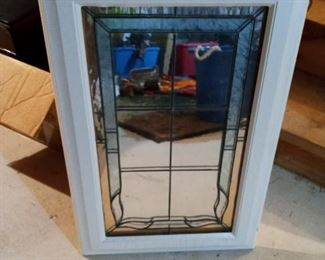 White framed etched glass, $60