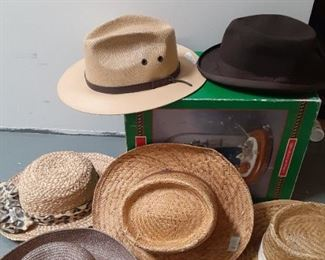 Hats. All kinds, straw hats derby, cowboy.  All mint, and vintage. 1950-1970