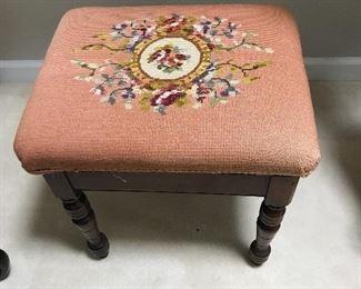 Vintage needlepoint bench