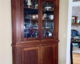 antique walnut corner cabinet circa 1800's
