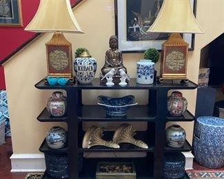 Asian style shelf - Matching Lamps