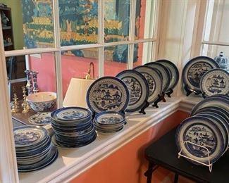 Antique Blue Canton Plates, Platters