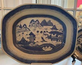 Antique Blue Canton Platter
