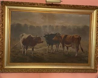 Antique Oil Painting, Cows in Field, Unsigned