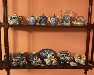 Miniature Blue Willow, etc. Tea Sets/Pots