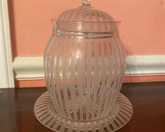 Antique Glass Jar w/Underplate