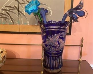 LARGE Cobalt Cut to Clear Vase and Glass Flowers