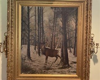 Antique Oil Painting, Deer in Forest, Unsigned