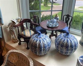 Miniature Tea Table, Chairs & Corner Chair
