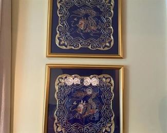 Framed Embroidered Dragons