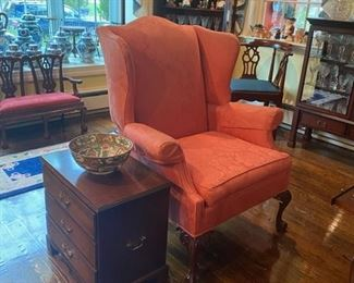 Wing Chair - Chairside Chest