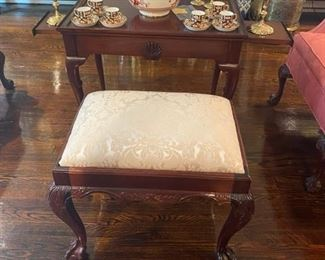 Upholstered Chippendale Bench