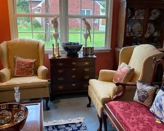 Henkel Harris Mahogany Chest - Two Gold Wing Chairs