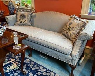 Blue Chippendale Sofa