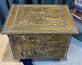 Embossed Brass Firewood Box