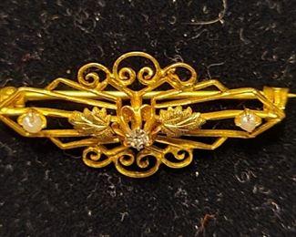10K Gold antique pin