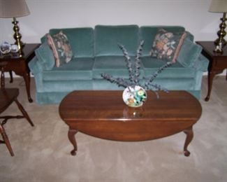 TEAL SOFA, CHERRY COFFEE TABLE, PAIR OF CHERRY LAMP TABLES & BRASS LAMPS