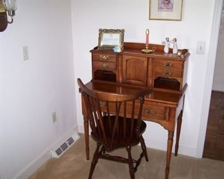 CHERRY WRITING DESK & WINDSOR-STYLE CHAIR