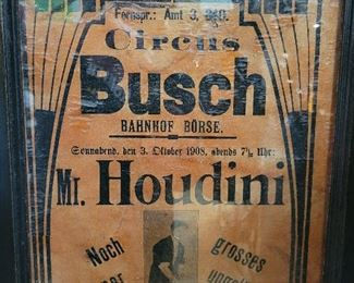 Harry Houdini first appears at the Circus Busch in 1908 with his Straight Jacket Escape and Milk Can Escape.