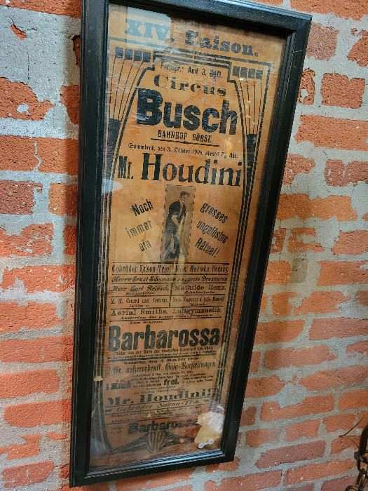RARE Authentic Houdini Show Poster from 1908