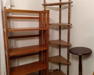2 Wooden Bookshelves and 1 Plant Stand