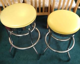 2 Vintage Yellow Silver Barstools