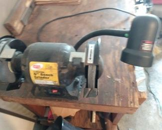 6 in Bench Grinder With Light.