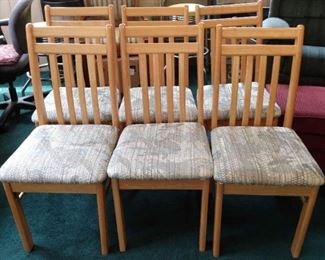 6 Wood Upholstered Table Chairs