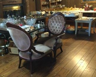 Victorian style chairs.  Lots of glassware.