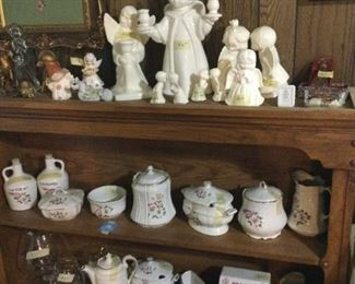 House of Webster collection.   Lots of ceramic angels.    Framed needlepoint.