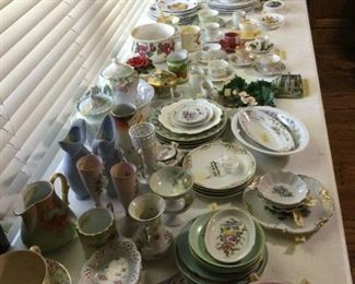 Hand painted china plates.   Porcelain tea cups & saucers.