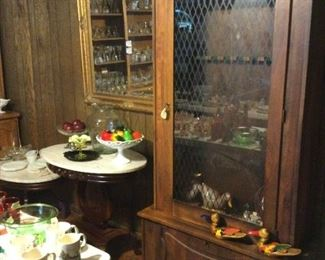 Walnut gun cabinet.