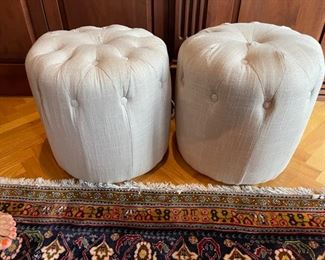 two small ottomans beige