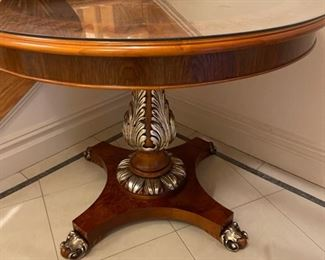 small round  hall table 39 inches wide by 30 inches in height