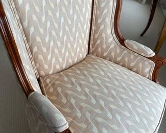 2  a like custom made upholstered chairs by Weiman